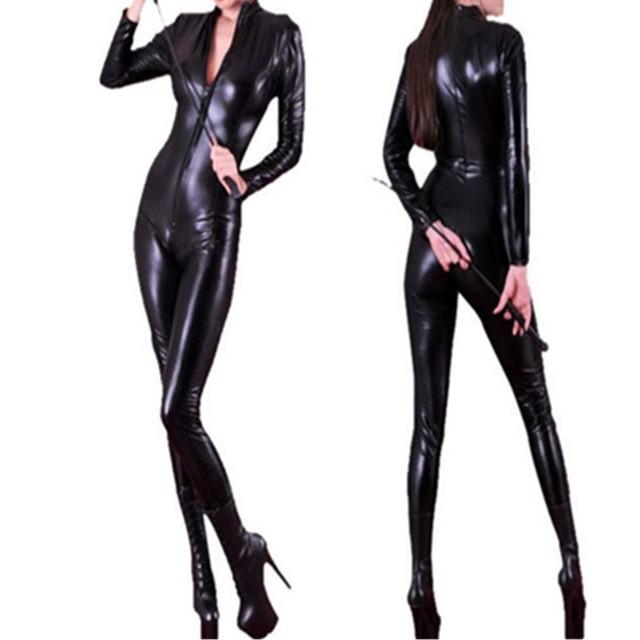 2016 Alta Calidad Superior de Cuero Sintético PVC Body Sexy Negro Catsuit de Manga Larga Con Cremallera PU Wet Look Jumpsuit