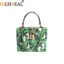 Women Messenger Bags Brand New Elegant Spring Summer Shoulder Diagonal Box Bag Woman Leave Print Art Clutch Banquet Handbag
