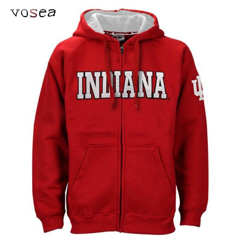 2017 New Fashion Classical Indiana University Hoodies Men Full Zippered Hooded Sweatshirt Red Brand Clothing