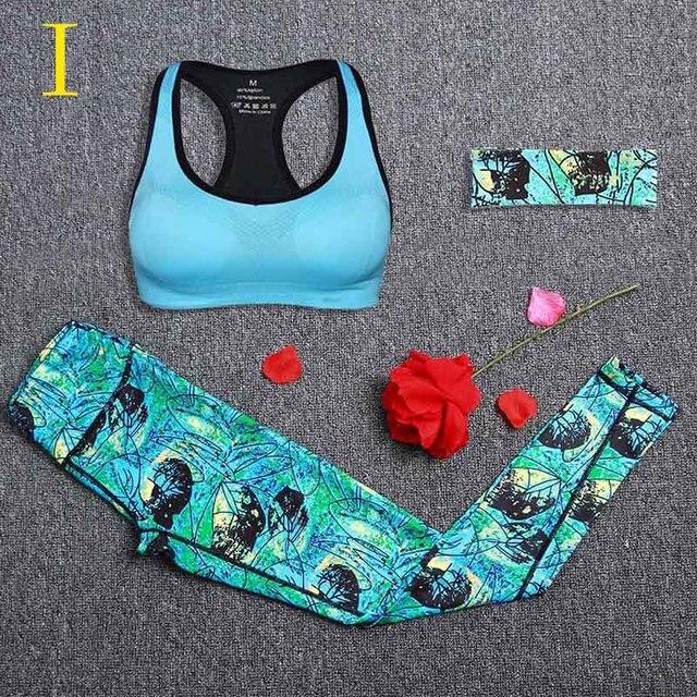 a94e25a5f6a428 Kobiety joga zestaw Gym Fitness zestawy damskie legginsy + biustonosz  sportowy + z pałąkiem na głowę
