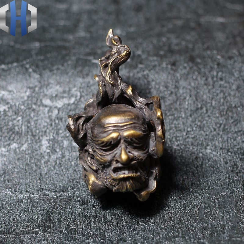 Original Handmade Brass Skull Hundred Ghost Night Line Pendant Necklace Key Men And Women Dark Ghosts