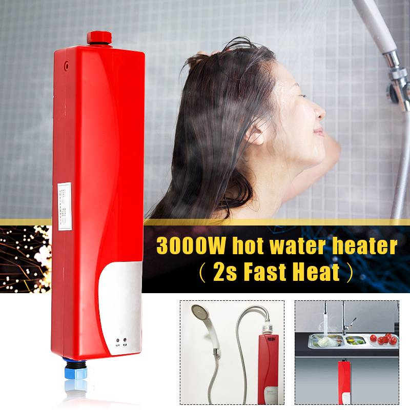 3s Fast Heat IPX4 LED Mini Water Heaters 3000W Instant Hot Water Heaters Kitchen Shower For Washing Dishes Food Clothes Faces