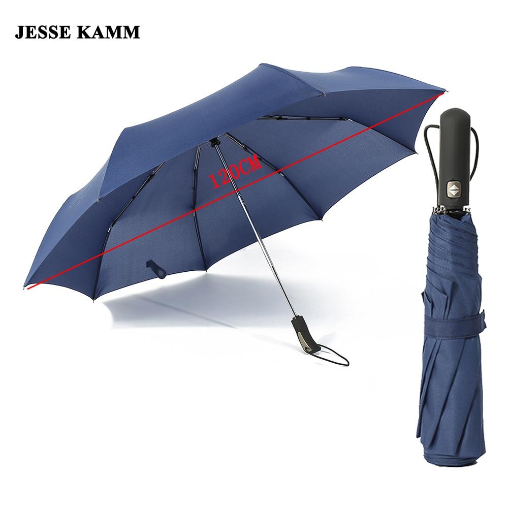 JESSE KAMM Auto Ouvrir et Fermer Automatiquement Pluie Parapluie 27' Grand forte Coupe-Vent 210 T Pongé Unisexe Compact Pour Femmes Hommes Haute Qaulity