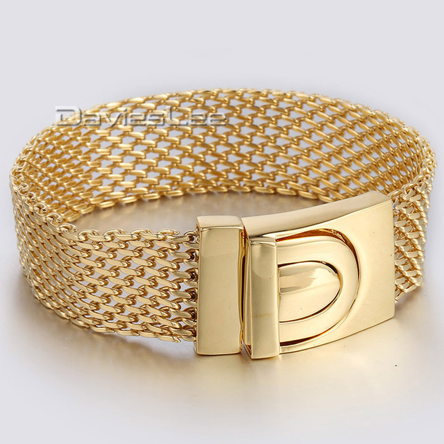 18mm 22cm Mens Boys Chain Mesh Bismark Link Gold Plated Silver Tone 316L Stainless Steel Bracelet Wholesale Gift Jewelry LHB330