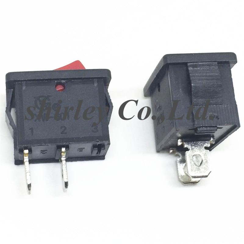 10 pcs Rocker Switch On//Off 2pin 6 A 10 A Black Cap KCD1-101 21x15mm