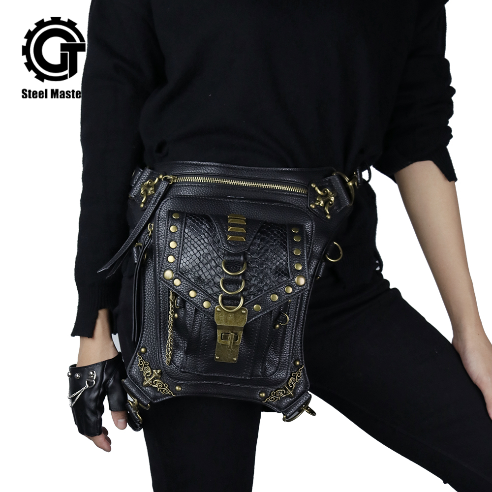 Top qualité PU cuir nouveau unisexe taille Fanny jambe sac cuisse ceinture moto Ride Punk Rock Messenger Goth Pack femmes taille sac