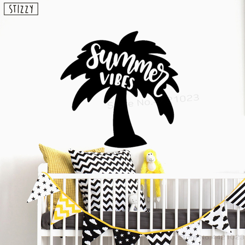 US $6.62 28% OFF|STIZZY Wall Decal Palm Coconut Tree Vinyl Wall Stickers  Quotes Summer Vibes Art Mural For Kids Room Removable Nursery Decor B818-in  ...