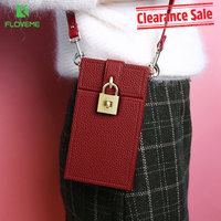 FLOVEME 5 5 Inch Universal Sexy Red Leather Wallet Bags Cases For Women Mobile Phone Slanted