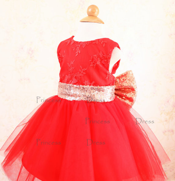 2017 red tulle ball gown baby dress with lace appliques open back kids pageant party dress sweet Princess dress with gold bow open back chain detail bodycon dress