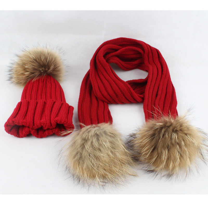 Children Knitted Fur Hats Scarf Boy Girl Winter 2019 Warm Comfort Real Fur Pom-Pom Hats Child Baby Caps Christmas Red Outfits