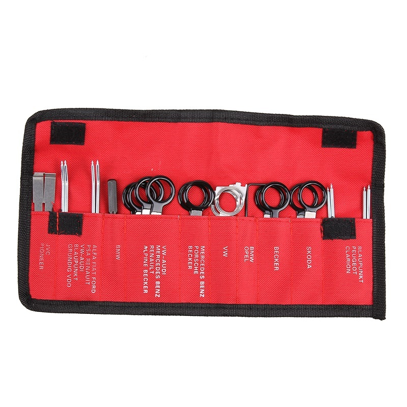20Pcs/Pack Vehicle Auto Radio Removal Tool Set with Red Bag Car Sound Dismantling Device Set Auto Repair Key Kit Set Tools