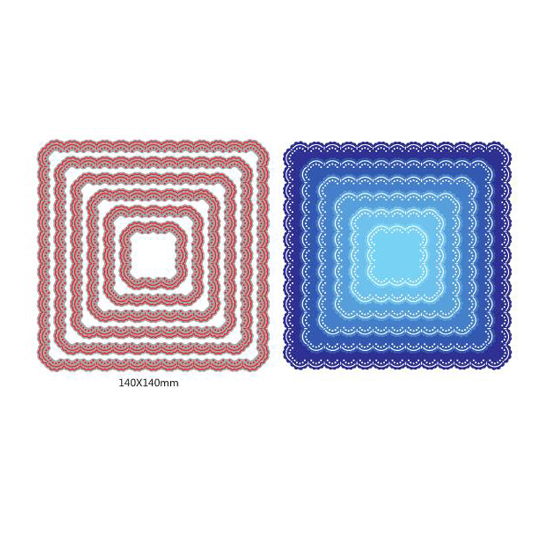 6 unids/set tapete borde cuadrados Metal corte muere plantilla para DIY Scrapbooking álbum de fotos en relieve tarjetas de papel artesanía decorativa