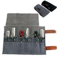 Hairdressing Leather Scissors Bag Salon Shears Combs Folding Roll Bag Cutting Thinning Scissor Case Pocket Hairdresser Tool 1279