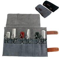 Hairdressing Leather Scissors Bag Salon Shears Combs Folding Roll Bag Cutting Thinning Scissor Case Pocket Hairdresser Tool 1279