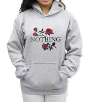 Nothing Letter Print Hoodie Rose Harajuku Women Hoodies Sweatshirts Autumn Winter Long Sleeve Casual Pullover Tracksuits