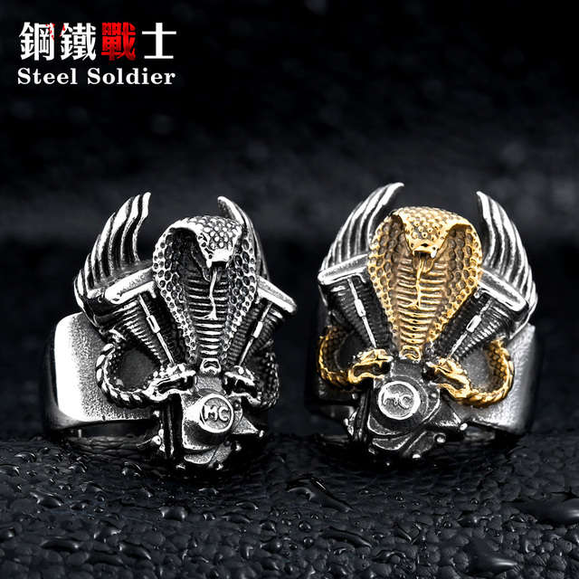Steel soldier retro snake biker ring stainless steel punk personality motor cycl