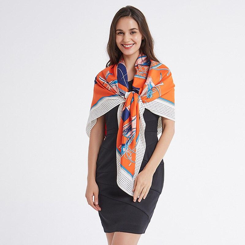 Image 3 - FXAASS Bandana Women Hijab Square Scarf Fashion Ladies Retro Luxury Silk Scarf Shawls Print 130*130cm Large Cape Headscarf-in Women's Scarves from Apparel Accessories