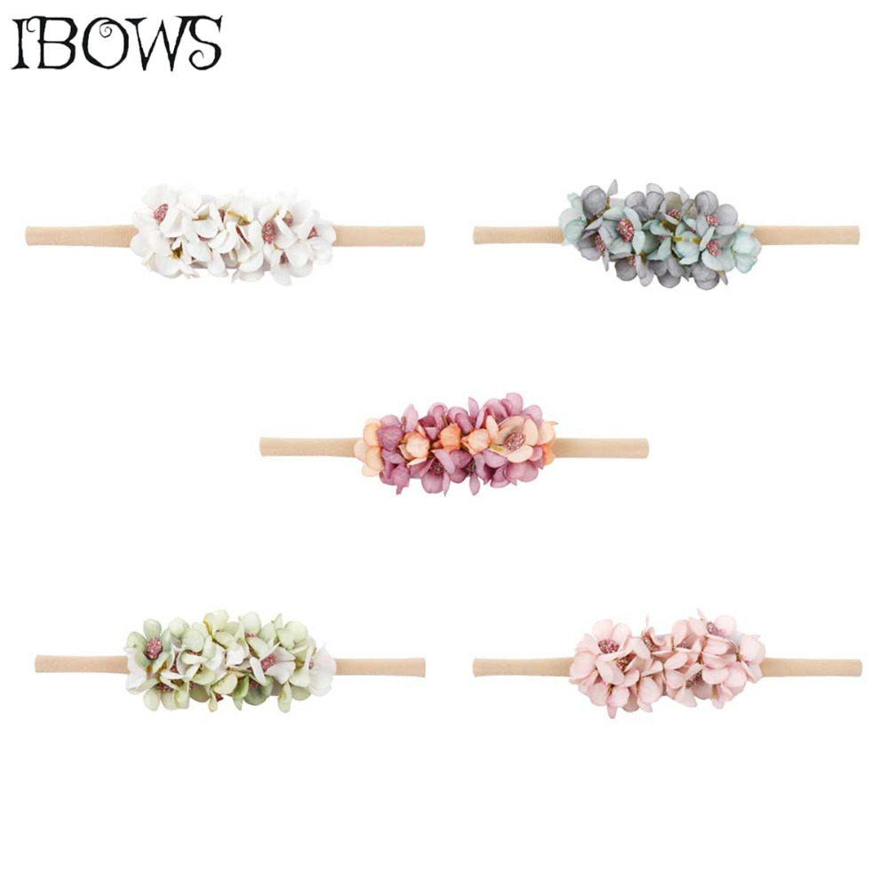 Hair Accessories Small Flower Headband For Girls Fake Flower Bows With Elastic Nylon Bands Newborn Hairbands Princess   Headwear
