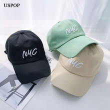 USPOP 2019 baseball caps women men cotton NYC letter embroidery cap soft top  casual adjustable size visor