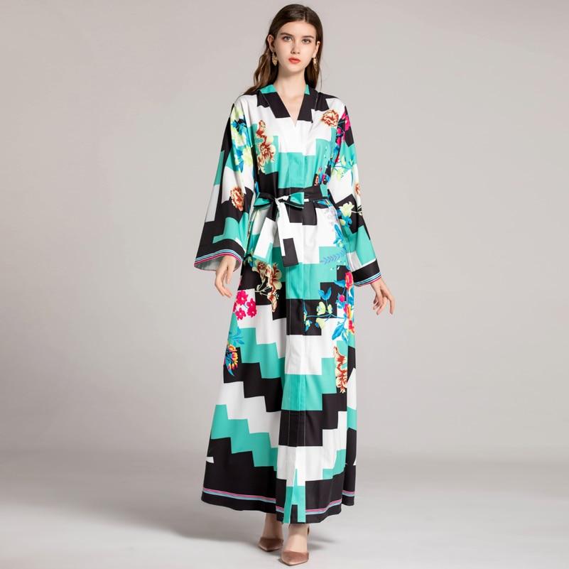 High quality fall fashion designer runway Maxi dress Women's Long Sleeve V-neck Robe Flower Print Plaid Vintage Loose long Dress