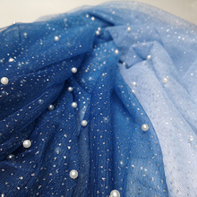Glitter lace fabric color changing net tulle mesh with pearls 3 yards! 2019 sexy women evening gowns sewing beading!