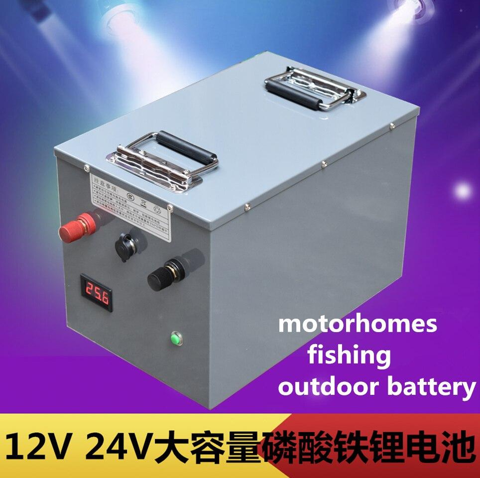 Grande capacité 12V 24V 200AH 300AH 400AH Lithium fer phosphate li-ion batterie pour camping-cars/d'urgence extérieure/batterie externe de pêche