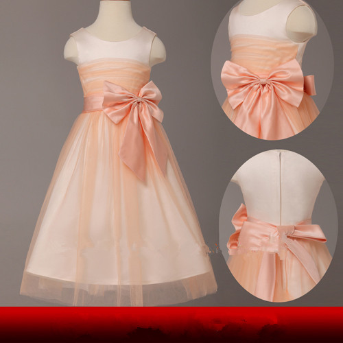 New A-Line Simple Style Custom Pleated Hot Cheap Flower Girl Dress For Wedding Kids Tulle Princess Dress Girls' Party Gown
