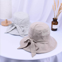 Lady Summer Beach Wide Brim Fisherman Hat Women Fashion Bowknot Sun Hat Anti -UV Sun d0be74130eec
