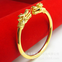 Women's wedding leader Dragon Bracelets Bangles tools VALUABLE Solid REAL 999 check 100% 24k Yellow gold plated Brass