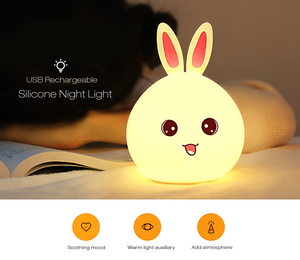 Original Silicone Rabbit Lamp Usb LED Night Light For Kids Bedside Lamp 7-Color Sensor light Reading Lamp For Bed Modern Touch 7 color changing rabbit led night light silicone touch sensor tap control nightlight remote controller for kids children baby