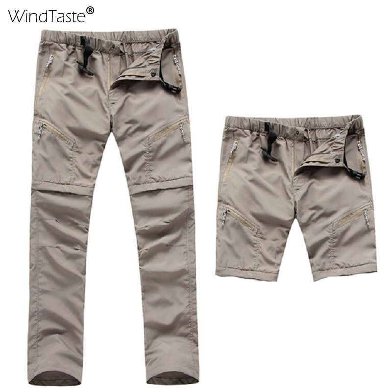 WindTaste Summer Men's Breathable Removable Hiking Pants Outdoor Sport Camping Climbing Waterproof Male Quick Dry Trousers KA063