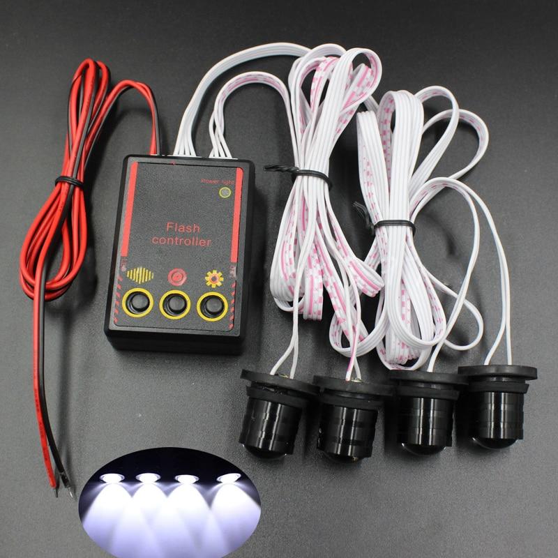 4 светодиоды/комплект автомобиль грузовик 4 Вт Строб оповещения о чрезвычайных ситуациях флэш орлиный глаз свет DIY лампы со вспышкой Белый контроллер лампы