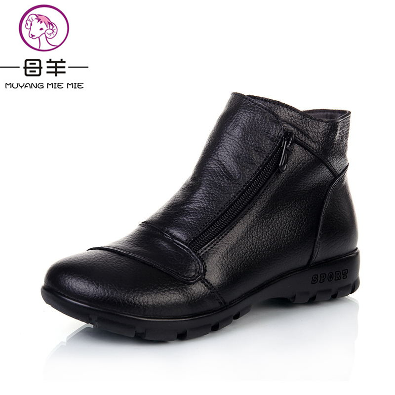 MUYANG MIE MIE Winter Snow Boots Women Genuine Leather Flat Ankle Boots 2017 New Women Shoes Woman Casual Warm Shoes Women Boots muyang mie mie plus size 35 43 winter women shoes woman genuine leather flat ankle boots 2016 fashion snow boots women boots