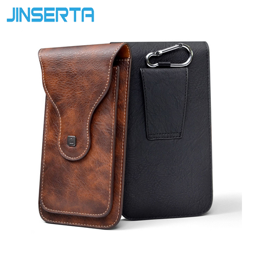 JINSERTA 6.5 Sport Phone Bag Case For iPhone X 8 7 Plus Waterproof Leather Waist Bags For Samsung S8 Xiaomi Redmi 4X 4A Cases