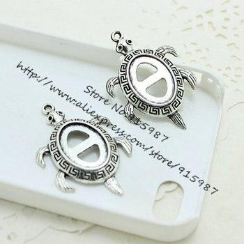 Dulce campana de 20 piezas, Tortuga de arce de Metal antiguo de 28*42mm (ajusta a 13*18mm Diy), cabujón ovalado, conjunto de colgante, joyería en blanco 6C1041
