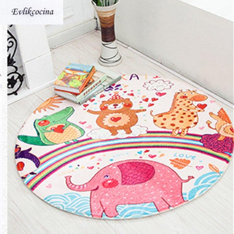 Free Shipping Cartoon Animals Round Carpet Kids Game Mat Non-Slip Baby Crawling Multifunctional Play Tapetes Para Casa Alfombra