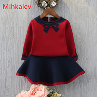 Mihkalev Girls Clothing Sets Autumn 2017 Sweater Tops Skirts 2PCS Kids Clothes Girl Tracksuits For Children