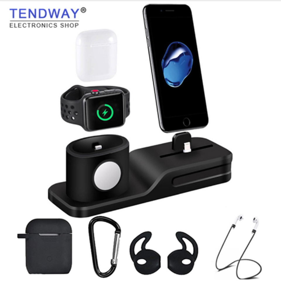 Tendway 3 in 1 Silicone for Airpods Case Charger for Apple Airpods Accessories Dock Stand Mobile Phone holder for Apple Apple