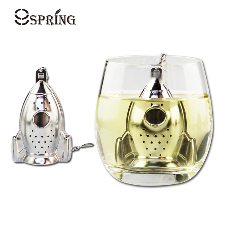 Stilfuldt Stainless Steel Tea Strainer Creative Rocket Shape Tea Infuser Filter til Loose Tea Leaf Urte Spice Tea Tilbehør