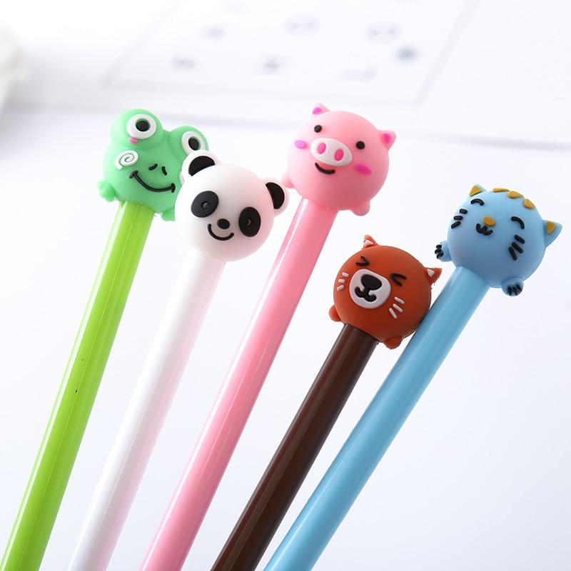 1 Pcs Kawaii Cartoon Animals Cute Pig Cat Panda 0.5mm Gel Pen Student School Stationery Gift Neutral Pens Supplies