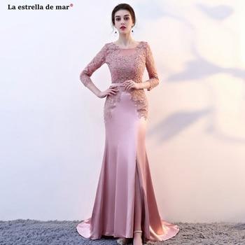 Vestido madrinha2019 new lace long sleeve sexy mermaid blush pink bridesmaid dresses long sukienka druhna pretty brautjungfernkl