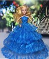 Blue Four Layers Model  Multi-lace Wedding Party Gown Dress for Barbie Doll Princess Luxurious Clothes Great Children Gift
