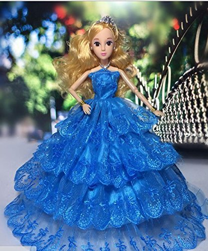 Blue 4 Layers Mannequin  Multi-lace Marriage ceremony Occasion Robe Gown for Barbie Doll Princess Luxurious Garments Nice Youngsters Reward