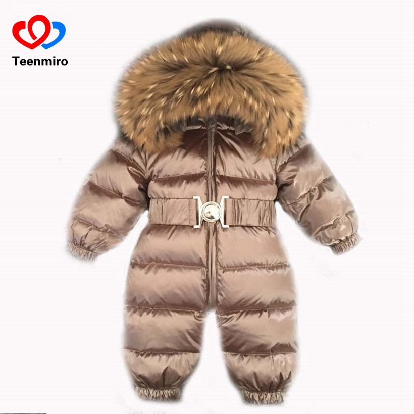 Newborn Baby Clothes Winter Snowsuit Infant Duck Down Jumpsuit Toddler Romper Fur Baby Onesie Kids Parka