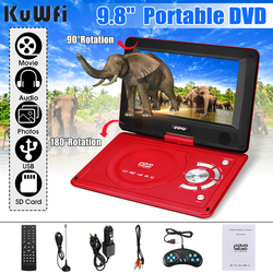 KuWFi Portable DVD Player 270 Degree Rotating Screen Rechargeable Digital Multimedia Player for Cars TV DVD Game Outdoor