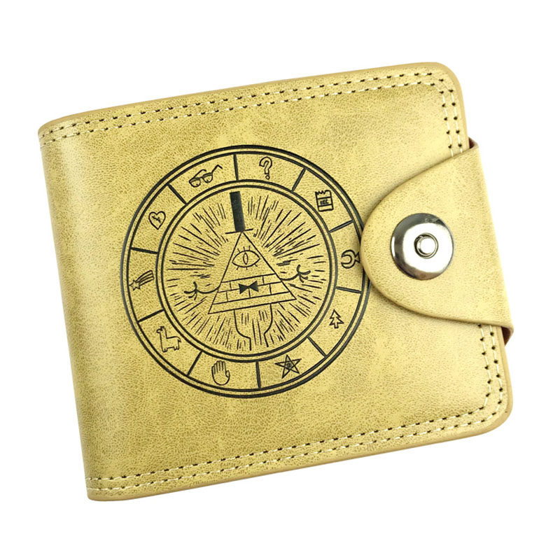 Khaki Wallet PU Leather Gravity Falls Adventure Anime Short Folding Purse Card Holder of Button Money Bag For Boy or Girl anime cartoon pocket monster pokemon wallet pikachu wallet leather student money bag card holder purse