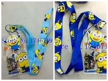 Hot Sale!  50 pcs Despicable Me Lanyard strap Cell Phone ID Key Holder + pouch + soft dangler Toy Gifts  S-320