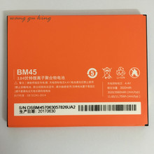 2018 NEW 100% Original BM45 Phone Battery For Xiaomi RedMi Note 2 Bateria Hongmi Real 3060mAh Mobile Replacement