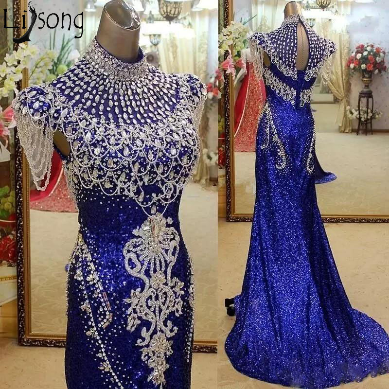 Royal Blue High Neck Mermaid Evening Dress Sparkly Crystal Sequined Prom Dress Red Carpet Celebrity Formal Dress Party Wear