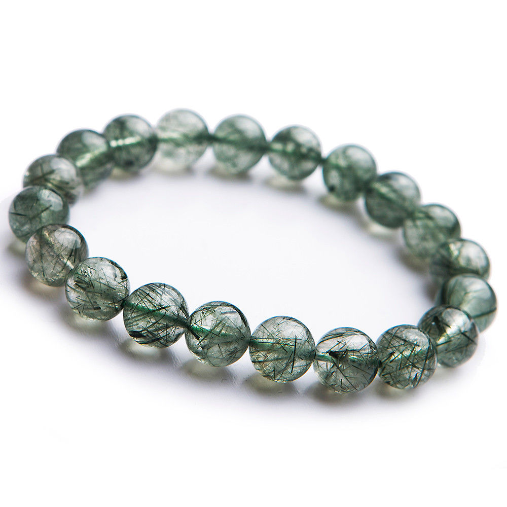 Genuine Natural Green Hair Rutilated Quartz Bracelet 10mm Brazil Round Beads Woman Anniversary Crsytal Fashion Bracelet